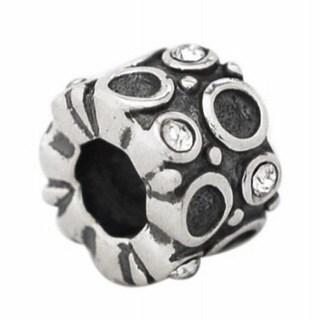 De Buman Sterling Silver White Crystal Charm Bead
