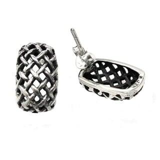 Curvy Rectagular Basket Weave .925 Silver Post Earrings (Thailand)