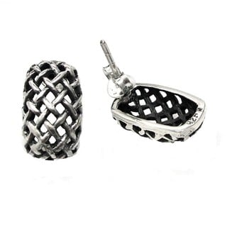 Curvy Rectagular Basket Weave .925 Silver Post Earrings (Thailand)