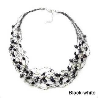 Braided Silk Freshwater Pearls Multi Strand Necklace (Thailand)