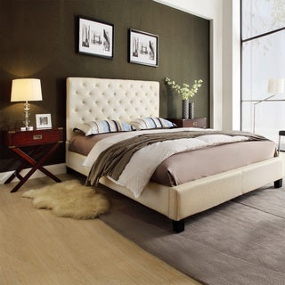 TRIBECCA HOME Sophie Beige Fabric Bed with 2 Espresso Box Nighstands
