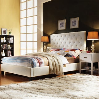 TRIBECCA HOME Sophie Beige Fabric Bed with Two White Rectangle Nightstand