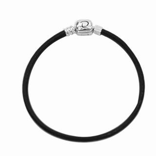 De Buman Sterling Silver Genuine Leather Charm Bracelet