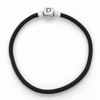 De Buman Sterling Silver Dark Brown Leather Charm Bracelet