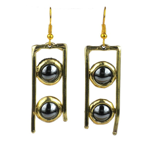 Handcrafted Hematite and Brass Ladder Earrings (South Africa)