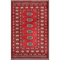 "Contemporary Pakistani Hand-Knotted Bokhara Red/Ivory Wool Rug (2'6"" x 4')"