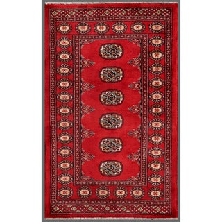 Pakistani Hand-knotted Bokhara Red/ Ivory Wool Rug (2'6 x 4'1)