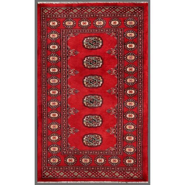 Pakistani Hand-knotted Bokhara Red/ Ivory Wool Rug (2'6 x 4'1)