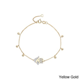 14k Two-tone Gold 1/8ct TDW Diamond Hamsa Bracelet (J-K, I2-I3)