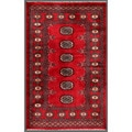 "Pakistani Hand-Knotted Bokhara Red/Ivory Geometric Pattern Wool Rug (2'7"" x 4'1)"