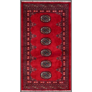 Pakistani Hand-knotted Bokhara Red/ Ivory Wool Rug (2'2 x 3'10)