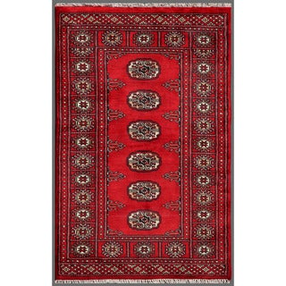 Pakistani Hand-Knotted Bokhara Red/Ivory Wool Rug Model H8143 (2'6 x 3'11)