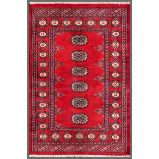 Pakistani Hand-Knotted Geometric Bokhara Red/Ivory Wool Rug (2'7 x 3'10)