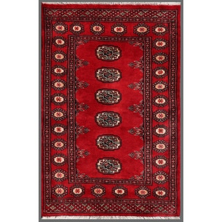 Pakistani Hand-knotted Bokhara Red/ Ivory Wool Rug (2'7 x 3'10)