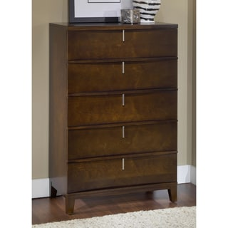 Domusindo Chocolate Brown Reverse Bowfront 5-Drawer Chest
