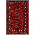 "Pakistani Hand-Knotted Bokhara Red/Ivory Wool Accent Rug (1'11"" x 2'11"")"