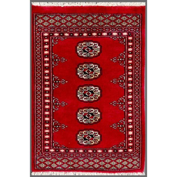 Herat Oriental Pakistani Hand-knotted Bokhara Red/ Ivory Wool Rug (2' x 2'10)