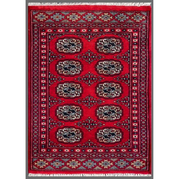 Pakistani Hand-knotted Bokhara Red/ Ivory Wool Rug (2'1 x 2'9)