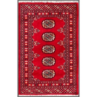 "Pakistani Hand-Knotted Bokhara Red/Ivory Accent Wool Rug (2' x 3'1"")"