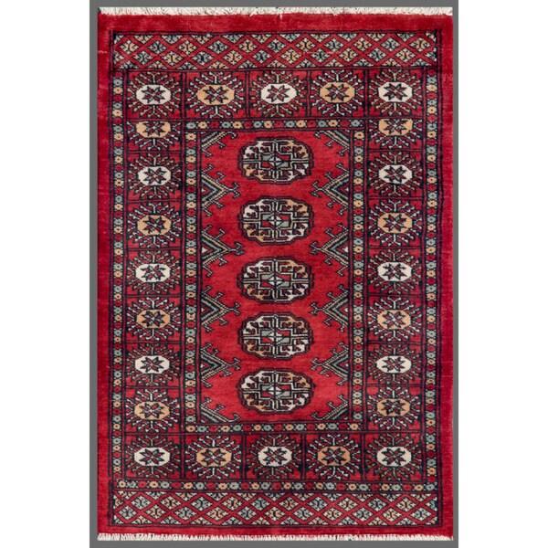 Pakistani Hand-knotted Bokhara Red/ Ivory Wool Rug (2' x 2'10)