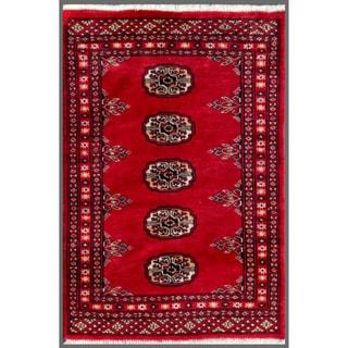 Pakistani Hand-knotted Bokhara Red/ Ivory Wool Rug (1'11 x 2'11)