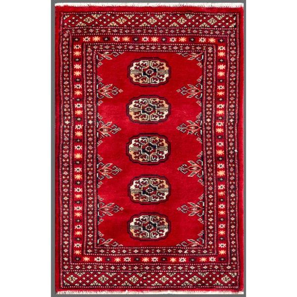 Herat Oriental Pakistani Hand-knotted Bokhara Red/ Ivory Wool Rug (2' x 3'1)