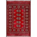 Pakistani Hand-Knotted Bokhara Red/Ivory Traditional Wool Accent Rug (2' x 3')