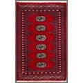 Pakistani Hand-Knotted Bokhara Red/Ivory Wool Accent Rug (2'1 x 3'3)