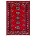 "Pakistani Hand-Knotted Bokhara Red/Ivory Wool Accent Rug (2' x 2'11"")"