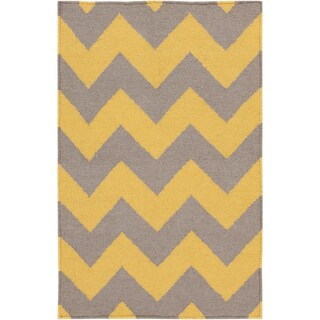 Hand-woven Mustard Chevron Yellow Wool Rug (8' x 11')