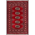 "Pakistani Hand-Knotted Bokhara Red/Ivory Wool Accent Rug (2'1"" x 3'1"")"