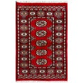 Pakistani Hand-knotted Bokhara Red/ Ivory Wool Rug (2'1 x 3'2)