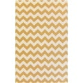 Handwoven Sandy Chevron Golden Yellow Wool Rug (2' x 3')