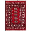 "Worldstock Pakistani Hand-Knotted Bokhara Red/Ivory Wool Rug (2' x 2'11"")"