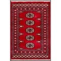 "Pakistani Hand-Knotted Bokhara Red/Ivory Wool Geometric Rug (1'11"" x 2'9"")"