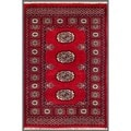 "Pakistani Hand-Knotted Bokhara Red/Ivory Geometric-Patterned Wool Rug (2' x 3'1"")"