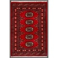 Pakistani Hand-knotted Bokhara Red/ Ivory Wool Rug (2'1 x 3'1)