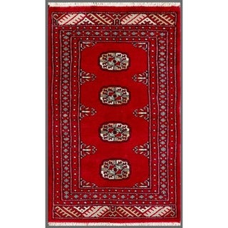 Pakistani Hand-knotted Bokhara Red/ Ivory Wool Rug (1'11 x 3'2)