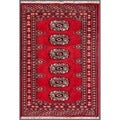 "Pakistani Hand-Knotted Bokhara Contemporary Red/Ivory Wool Rug (2' x 2'10"")"