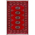 """Pakistani Hand-Knotted Bokhara Red/Ivory Wool Area Rug (1'11"""" x 3')"""