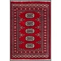 "Pakistani Hand-Knotted Bokhara Red/Ivory Wool Geometric Rug (2'1"" x 3'1"")"