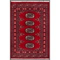 "Contemporary Pakistani Hand-Knotted Bokhara Red/Ivory Wool Rug (2' x 2'11"")"