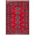 "Pakistani Hand-Knotted Bokhara Red/Ivory Geometric-Patterned Wool Rug (2' x 2'11"")"