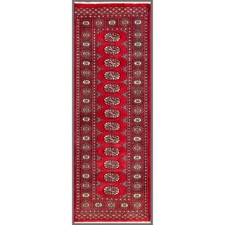 Pakistani Hand-Knotted Bokhara Red/Ivory Contemporary Wool Rug (2' x 5'10
