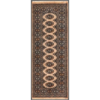 Pakistani Hand-knotted Bokhara Beige/ Black Wool Rug (2'1 x 5'10)