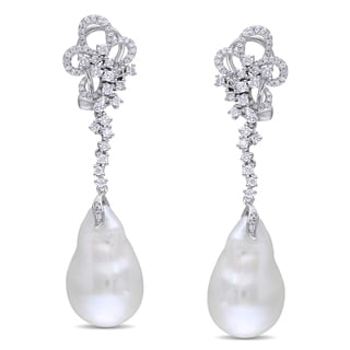 Miadora Signature Collection 14k White Gold Cultured Freshwater Pearl and 1ct TDW Diamond Earrings (G-H, SI1-SI2) with Bo