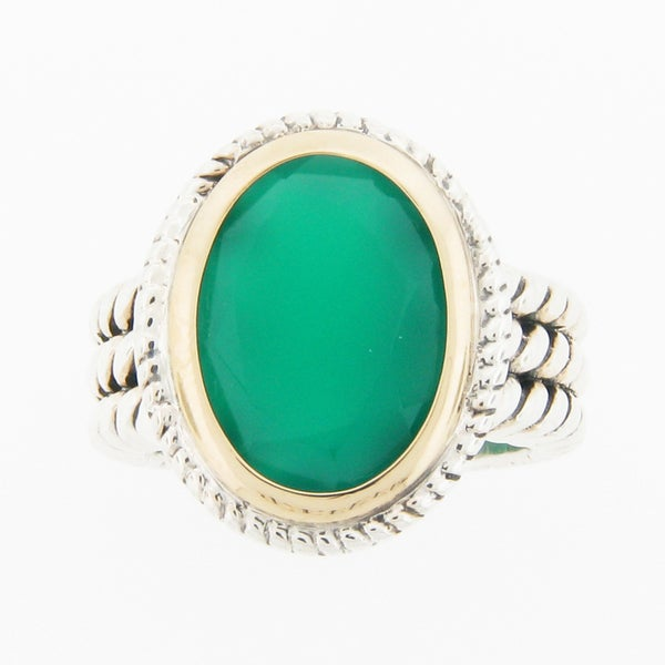 Meredith Leigh Sterling Silver and 14k Gold Green Onyx Ring