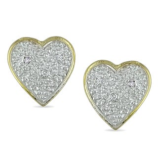 Haylee Jewels 10k Yellow Gold 1/8ct TDW Diamond Heart Earrings (J-K, I2-I3)