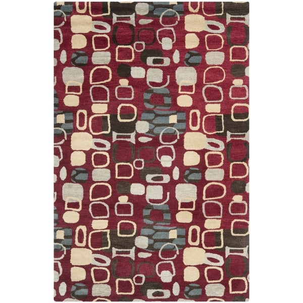 Safavieh Handmade Wyndham Modern Abstract Red Wool Rug