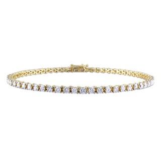 Miadora 14k Yellow Gold 3ct TDW Diamond Tennis Bracelet (G-H, I1-I2)